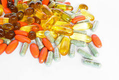 Colorful vitamin and medicine pills Royalty Free Stock Photos