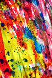 Colorful vivid energetic blue pink gold silver red spot texture paint watercolor spots Royalty Free Stock Image