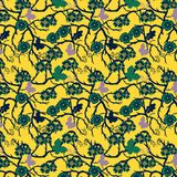 Green whimsical floral repeating pattern over deep yellow background. Colorful vivid green and orange yellow floral repeating patterns with whimsical flowers stock illustration