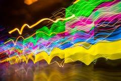 Colorful vivid motion blur road night stock image