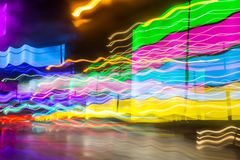 colorful vivid motion blur road night drive effect stock images