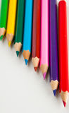 Colorful vivid pencils on white background Royalty Free Stock Photography