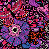 Colorful vivid vector seamless abstract hand-drawn pattern Stock Images