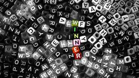 Colorful Vivid Winner Word on Black and White Alphabet Letter Cubes Background. Colorful Vivid Winner Word on Black and White Alphabet Letter Cubes Tiled Stock Photography