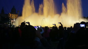 Colorful vocal fountain Montjuic show in Barcelona. stock video footage