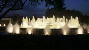 Colorful vocal fountain Montjuic show stock video footage