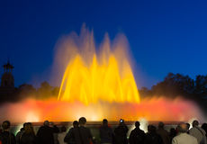 Colorful vocal Montjuic fountain in Barcelona. Catalonia Stock Photography