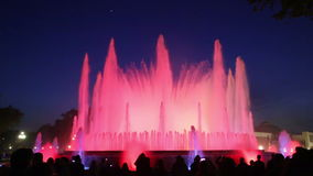 colorful vocal Montjuic fountain in Barcelona stock video footage