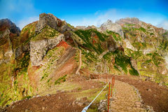Colorful volcanic mountain landscape with hiking path Royalty Free Stock Photography