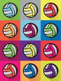 Colorful Volleyball Icons Background Illustration Stock Image