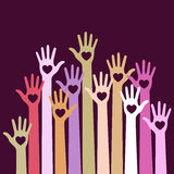 Colorful Volunteers caring up hands hearts vector on violet background. Royalty Free Stock Image