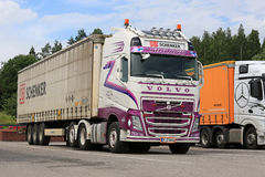 Colorful Volvo FH Cargo Truck Parked royalty free stock photo