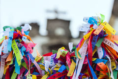 Colorful votive ribbons Stock Photos