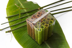 Colorful waffle rolls packed in transparent bag on Stock Image