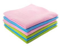 Colorful waffle towels isolated on white. Colored towels folded stack isolated on white Royalty Free Stock Photo