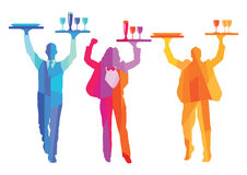 Colorful waiter silhouettes  Royalty Free Stock Photos