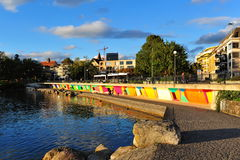 Colorful wall along the promenade in city of Zug Stock Photo