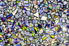 Colorful wall from broken pottery. Colorful  wall made from broken pottery Stock Images