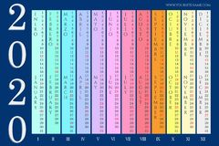 Colorful wall calendar 2020 vector illustration