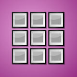 Colorful Wall with empty Picture Frame Stock Image
