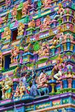 Colorful wall and figures on the facade of Hindu Royalty Free Stock Image