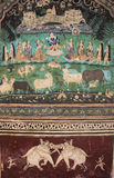Colorful wall paintings in Chitrashala, Bundi Palace, India Royalty Free Stock Photos