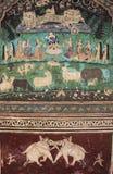 Colorful wall paintings in Chitrashala, Bundi Palace, India Royalty Free Stock Photos