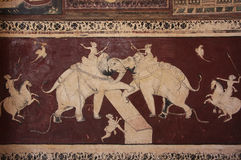 Colorful wall paintings in Chitrashala, Bundi Palace, India Stock Photo
