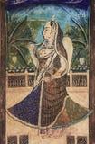 Colorful wall paintings in Chitrashala, Bundi Palace, India Royalty Free Stock Images
