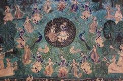 Colorful wall paintings in Chitrashala, Bundi Palace, India Stock Photos