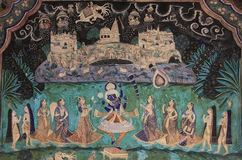 Colorful wall paintings in Chitrashala, Bundi Palace, India Stock Photography