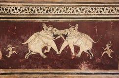 Colorful wall paintings in Chitrashala, Bundi Palace, India Stock Image