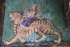 Colorful wall paintings in Chitrashala, Bundi Palace, India Stock Photo