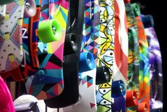 Colorful wall of skateboard Stock Photos
