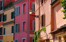 Colorful wall streetscapes in Rome, Italy stock image