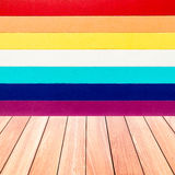 Colorful wall texture with plank wood floor Royalty Free Stock Photos