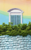 Colorful wall and window. Colorful roof with fake window painting Stock Images