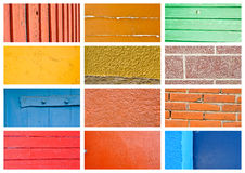 Colorful wall and wood texture collage. Colorful wall and wood texture collection Royalty Free Stock Image