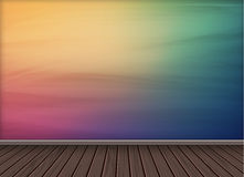 Colorful wallpaper background with wooden texture floor Royalty Free Stock Photo