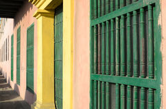 Colorful walls of old houses in Colonial style Royalty Free Stock Images