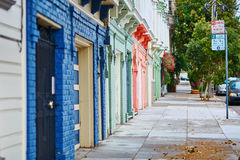 Colorful walls of wooden houses on street of San Francisco, USA Royalty Free Stock Photo