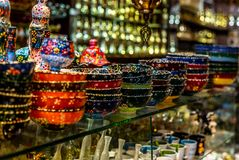 Colorful wares on sale in a traditional Omani Suq Market. In Muscat - 6 Stock Image