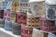 Colorful wares on sale in a traditional Omani Suq Market. In Muscat - 3 Stock Images