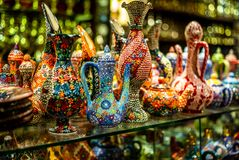Colorful wares on sale in a traditional Omani Suq Market in Mu. Scat - 7 Stock Photo