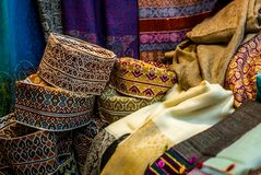 Colorful wares on sale in a traditional Omani Suq Market in Mu. Scat - 10 Royalty Free Stock Images