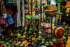 Colorful wares on sale in a traditional Omani Suq Market. In Muscat - 5 Stock Photo
