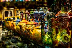 Colorful wares on sale in a traditional Omani Suq Market in Mu. Scat - 9 Stock Photography