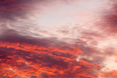 Colorful warm clouds on sky at sunset Royalty Free Stock Images