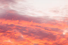 Colorful warm clouds on sky at sunset Royalty Free Stock Image