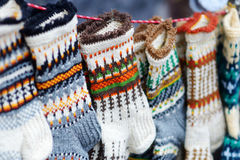 Colorful warm knitted socks sold on Easter market in Vilnius Royalty Free Stock Photography